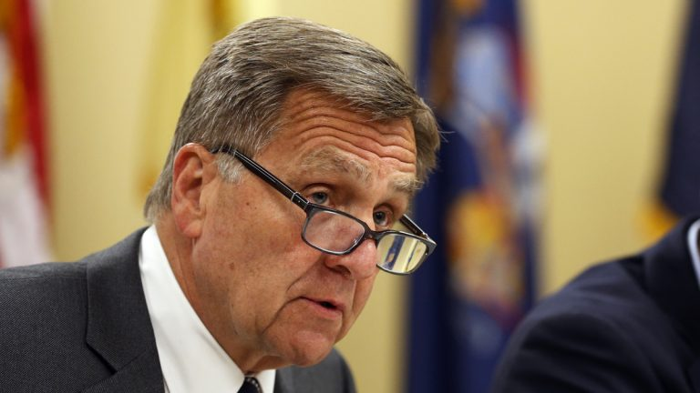 David Samson, was the chairman of The Port Authority of New York and New Jersey when bridge acess lanes were closed in Fort Lee.   (AP Photo/Julio Cortez)