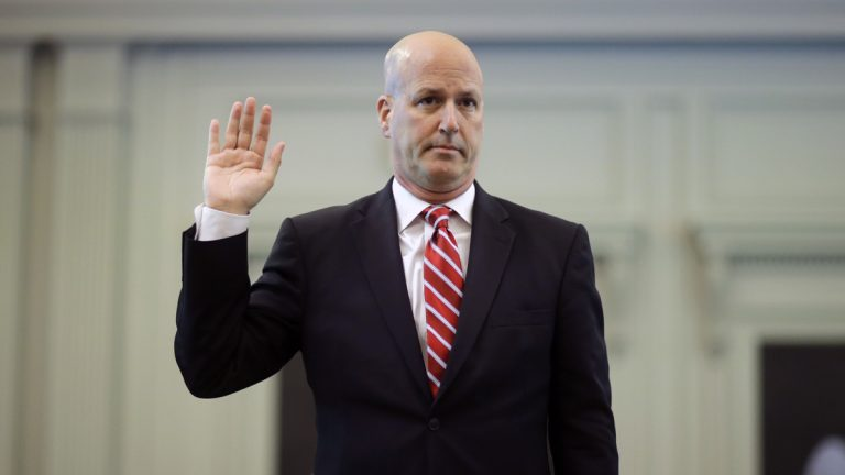 Michael Drewniak, chief spokesman for Gov. Chris Christie, is sworn in Tuesday, May 13, 2014, before the state legislature's Select Committee on Investigation in Trenton.  (AP Photo/Mel Evans)