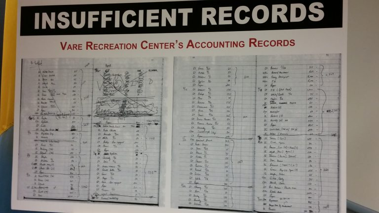 An example of the kind of record-keeping that Philadelphia Controller Alan Butkovitz is reviewing. (Tom MacDonald/ WHYY)