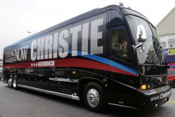 Governor Christie's 2013 re-election campaign bus. Buses like this are typically used by well-funded presidential candidates. (AP Photo/Mel Evans)