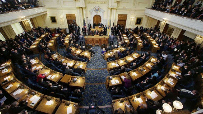 The New Jersey Assembly chamber in Trenton.  (AP Photo/Mel Evans)
