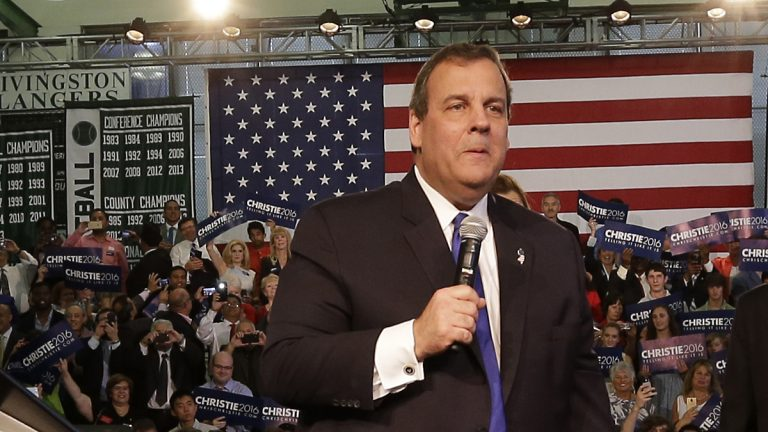 Gov. Christie speaks to supporters during an event announcing he will seek the Republican nomination for president, Tuesday, June 30, 2015, (AP Photo/Mel Evans)