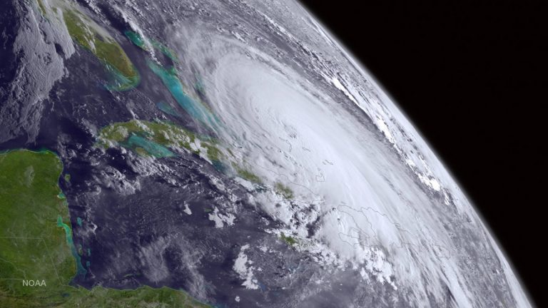 This satellite image taken Thursday, Oct. 1, 2015 shows Hurricane Joaquin over the  Bahamas .  (NOAA via AP)