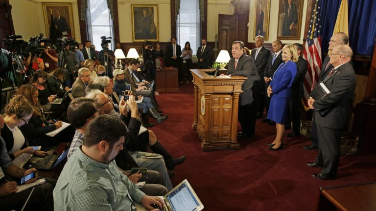 Gov.Christie addresses a gathering laying out preparation plans for a possible weekend rainstorm Thursday, Oct. 1, 2015. (AP Photo/Mel Evans)