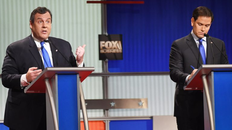 Gov. Chris Christie (left) and  Sen. Marco Rubio at Thursday's Fox Business Network Republican presidential debate in South Carolina. (AP Photo/Rainier Ehrhardt)