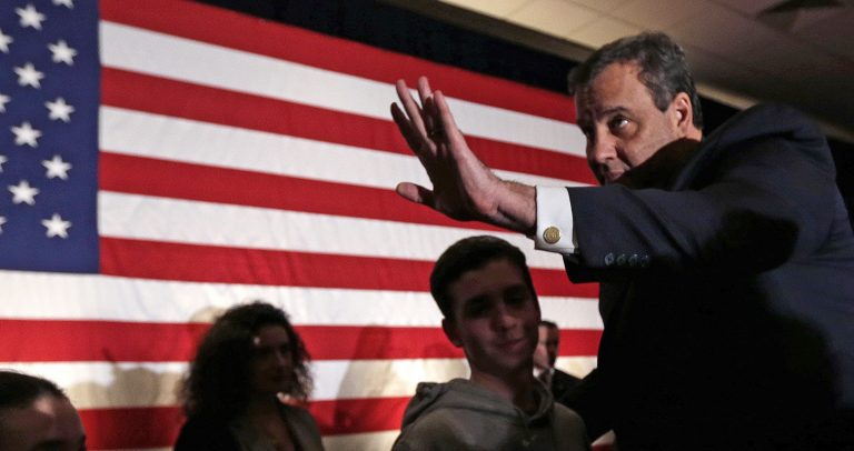 Republican presidential candidate, New Jersey Gov. Chris Christie thanks supporters during a primary night rally in Nashua, N.H., Tuesday, Feb. 9, 2016. (AP Photo/Charles Krupa)
