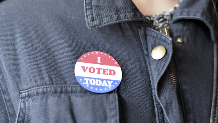 A sticker from Election Day 2016. (Bastiaan Slabbers/WHYY News)