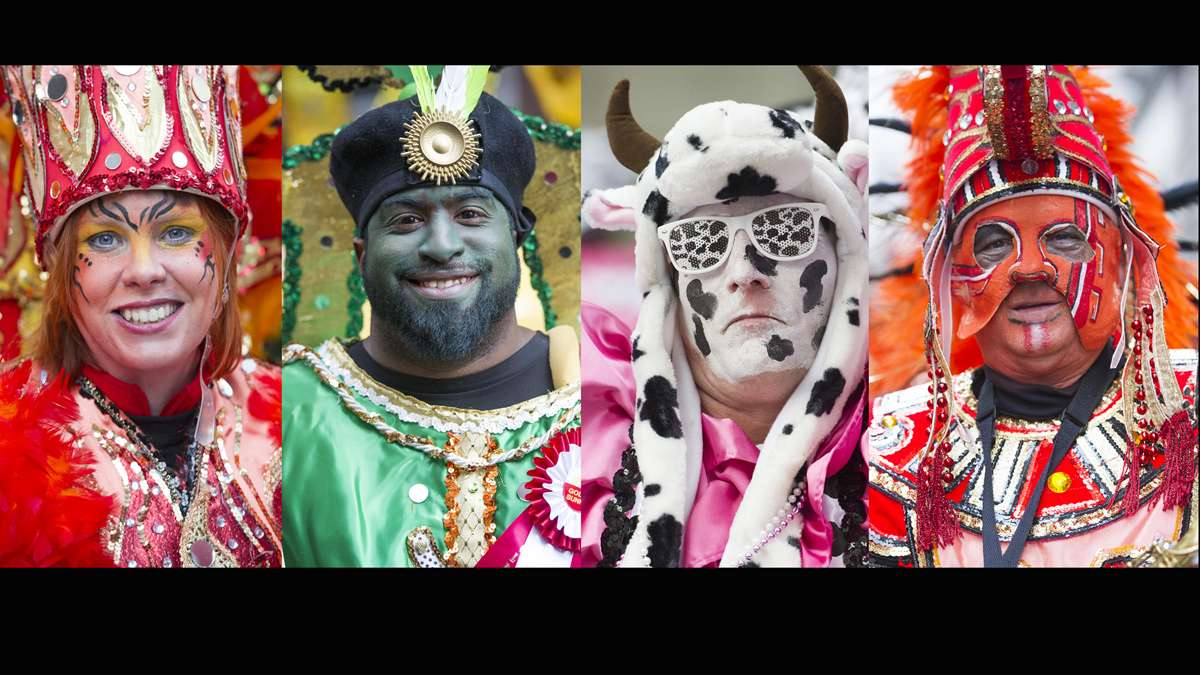 Faces of Mummers from the 116th annual Mummer's Parade (Jonathan Wilson/for NewsWorks)