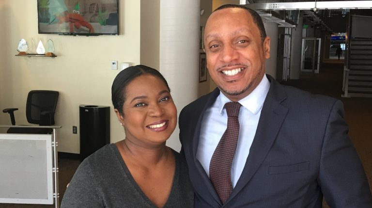 PABJ President Melony Roy and NABJ Region 1 Director Johann Calhoun are preparing for the National Association of Black Journalists regional conference. (Jay Scott Smith/WHYY)