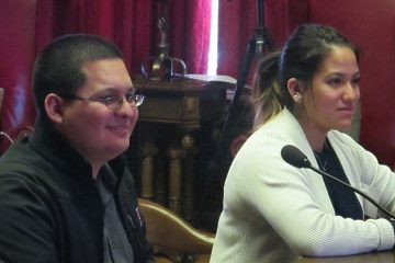 Undocumented immigrants Giancarlo Tello and Daniela Velez testify at N.J. Assembly committee hearing (Photo by Phil Gregory)