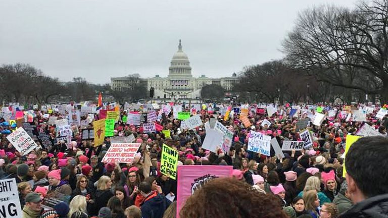 One day after Donald Trump was sworn in women staged a large protest in Washington D.C. (Photo courtesy of Evelyn Tu)