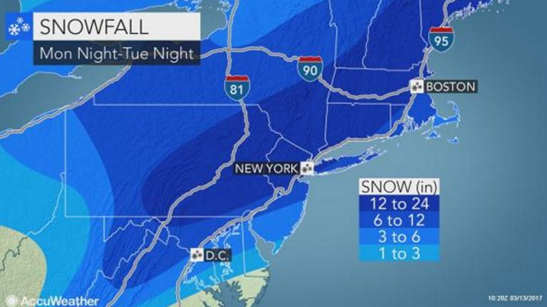 ACCUWEATHER map showing expected snowfall amounts.
