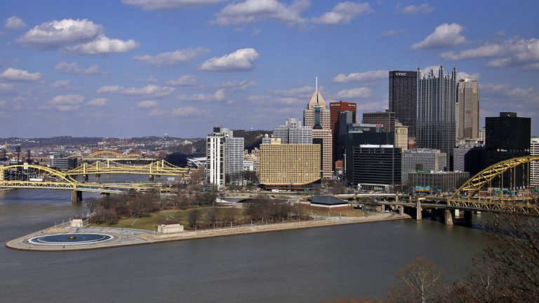 This April 8, 2014 photo shows the skyline of downtown Pittsburgh at the confluence of the Allegheny, Monongahela, and Ohio Rivers. (AP Photo/Gene J. Puskar)