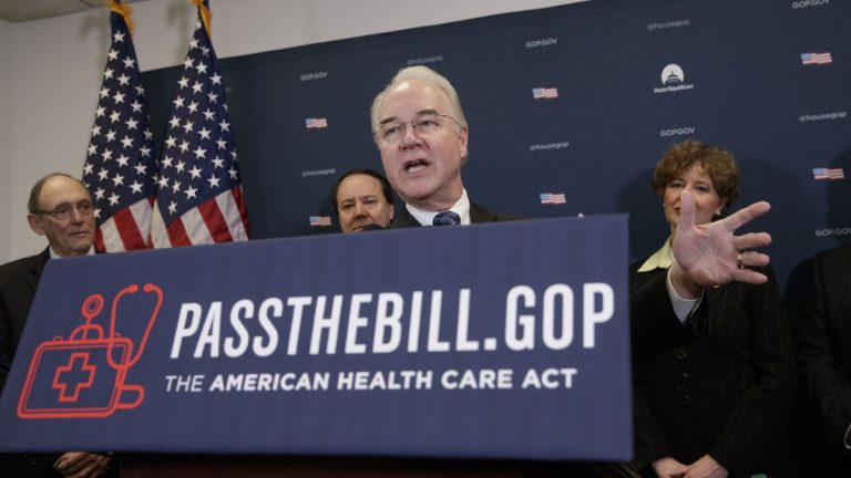 Health and Human Services Secretary Tom Price backs the GOP's health care plan (AP Photo/J. Scott Applewhite)
