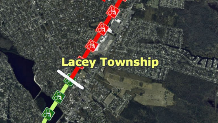 The trail passes through Lacey Twp. where it will be used for a Route 9 bypass. (Map courtesy of the Ocean County Planning Department)