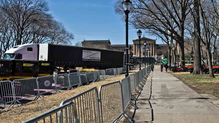 Pedestrian barricades in front of the Philadelphia Museum of Art. (Kim Paynter/WHYY)