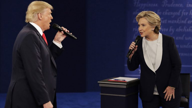 Republican presidential nominee Donald Trump and Democratic presidential nominee Hillary Clinton speak during the second presidential debate last year at Washington University in St. Louis. Your political beliefs may be influencing your perception. (AP file photo)