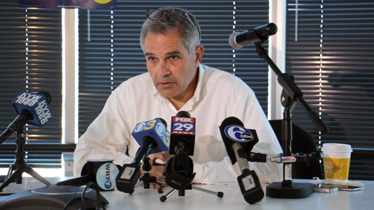 Larry Krasner speaks to the media on May 17, 2017, the day after he won the Democratic nomination for Philadelphia district attorney. (Emma Lee/WHYY, file)