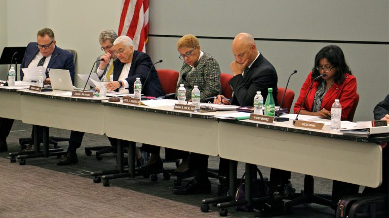 Members of the Philadelphia School Reform Commission and Superintendent William Hite meet in May. (Emma Lee/WHYY)