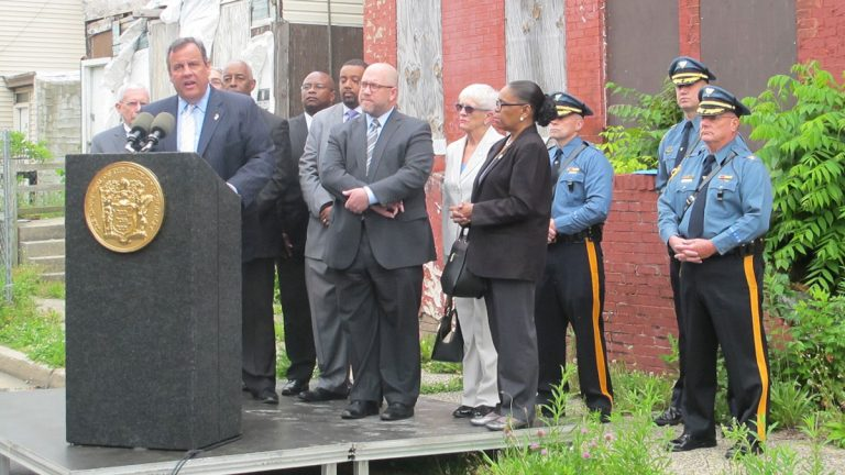 Governor Christie says the state will provide $11.5 million to improve safety and eliminate blight. (Phil Gregory/WHYY)