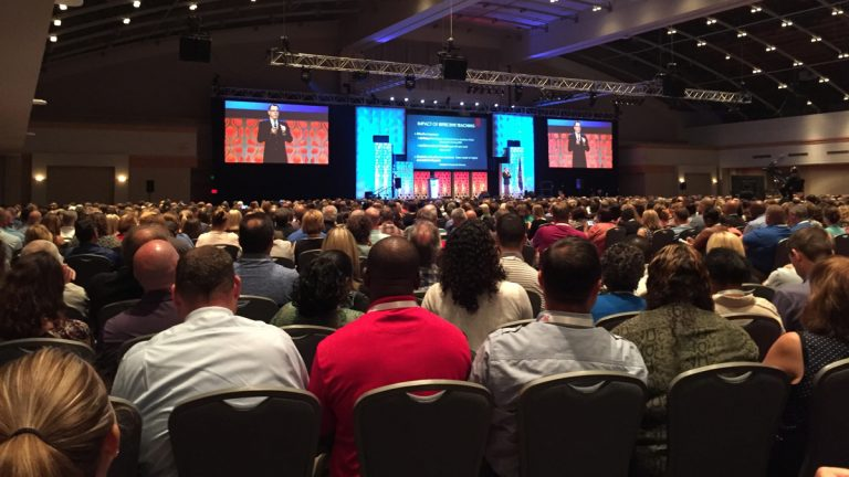 Hundreds of school principals from across the country gather at the Pennsylvania Convention Center for the 2017 National Principals Conference. (Avi Wolfman-Arent/WHYY)