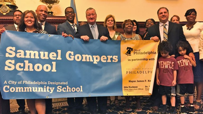 Samuel Gompers School in Philadelphia's Overbrook neighborhood was designated a community school in August. (Avi Wolfman-Arent/WHYY)