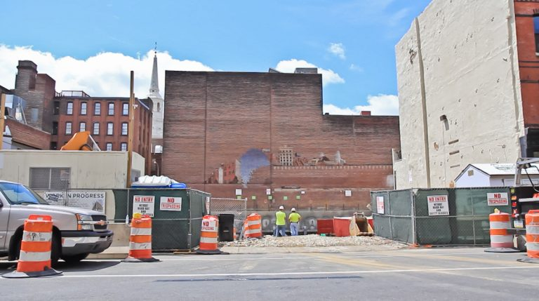 Site of the development at 218 Arch Street Monday morning.