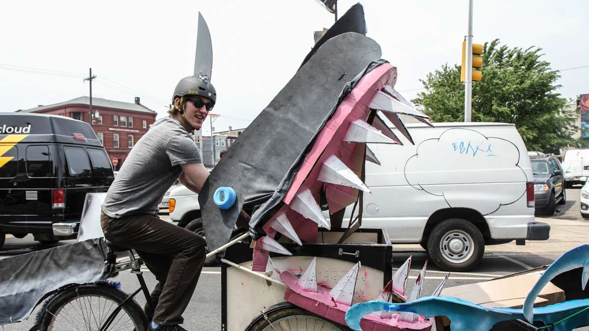 A shark bike cruises the Kensington Kinetic Sculpture Derby and Arts Festival. (Kimberly Paynter/WHYY)
