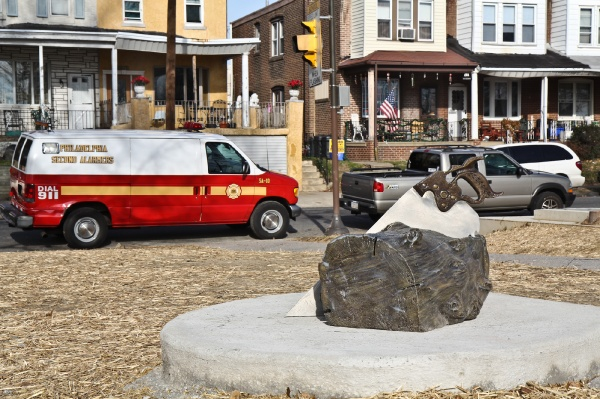 <p>Art work at Engine 38 in Tacony celebrates the history of  firefighting in Philadelphia and the history of the neighborhood and the Disston Saw Works. Work by Suikang Zhao for the Percent for Art program. (Kimberly Paynter/WHYY)</p>