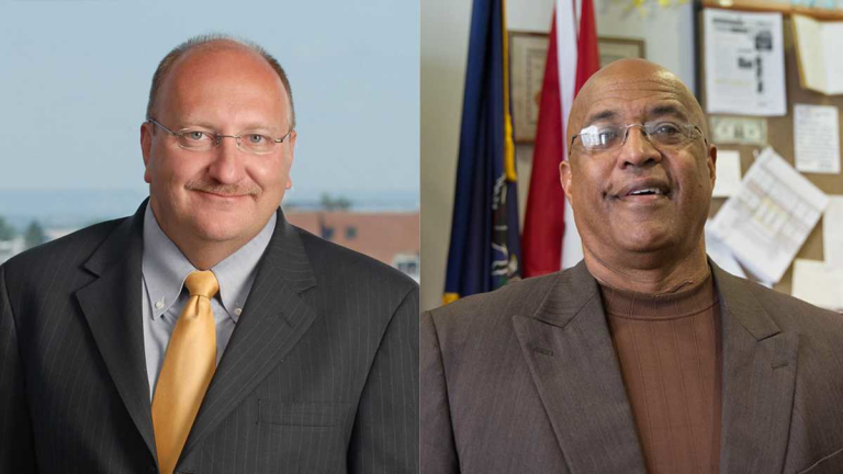 Allentown Mayor Ed Pawlowski (left) and former Reading Mayor Vaughn Spencer. (Images via Seven Points Consulting/Wikipedia Creative Commons and Lindsay Lazarski/WHYY)