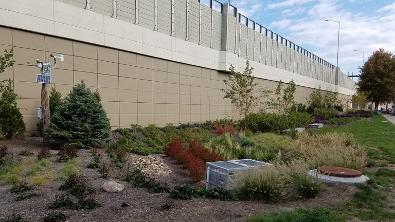 This garden abutting I-95 in Fishtown is designed to absorb stormwater runoff from the highway. (Robert Traver)