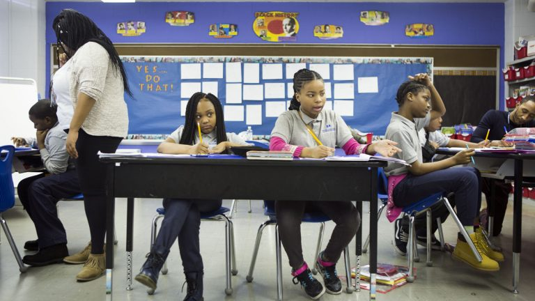 5th grade students attend class at John Wister Elementary, a Mastery Charter school, in Philadelphia, Pa. (Jessica Kourkounis/For Keystone Crossroads)