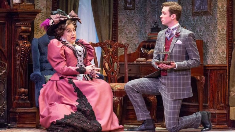 Mary Martello as Lady Bracknell and Daniel Fredrick as Algernon in Walnut Street Theatre's production of 'The Importance of Being Earnest.' (Photo courtesy of Mark Garvin)