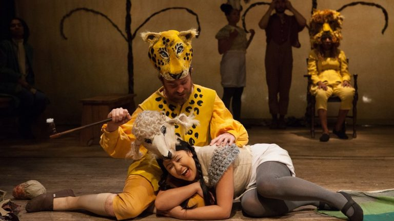 Chris Davis as a leopard and Stephanie N. Walters as a lamb in Orbiter 3's 'Peaceable Kingdom.'