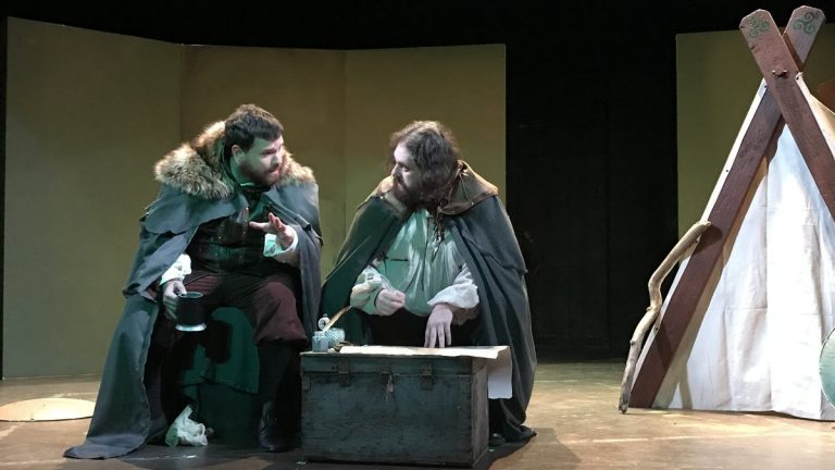 Kevin Rodden (left)  and Ethan Lipkin as Hugh O'Neill, in the Irish Heritage Theatre co-production with Plays and Players of 'Making History.' (Photo courtesy of Carlos Forbes)
