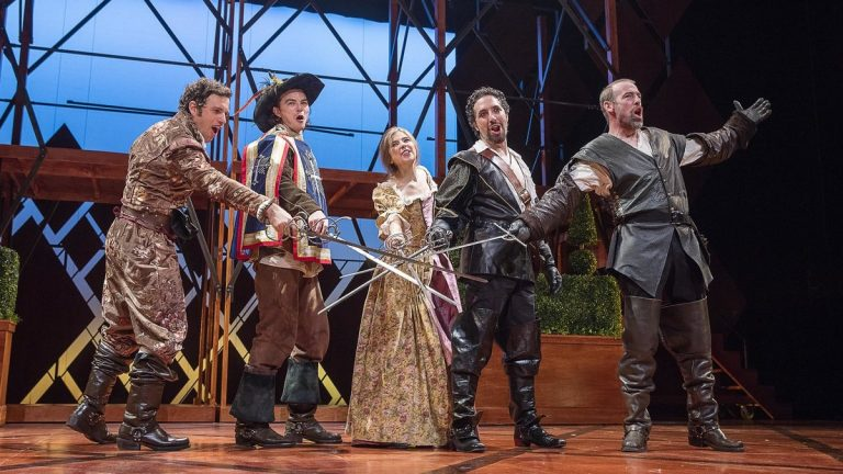 In Pennsylvania Shakespeare Festival's production of 'The Three Musketeers,' the Musketeers are (far left) Zack Robidas, (on right) Alex Sovronsky and Ian Merrill Peakes. In between are Sean Patrick Higgins and Stephanie Hodge.(Photo courtesy of Lee A. Butz)
