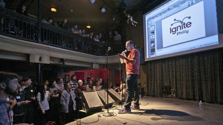 Ignite Philly co-organizer Geoff DiMasi addressing the crowd at Johnny Brenda's. (Photo courtesy of Kevin Monko)