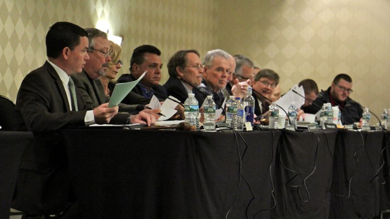 Members of the New Jersey Pinelands Commission preside over a public hearing in Cherry Hill. (Emma Lee/WHYY, file)