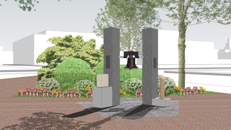 Artist rendering of a 9/11 memorial proposed for Franklin Square. (Image courtesy of Phila911 Inc.)