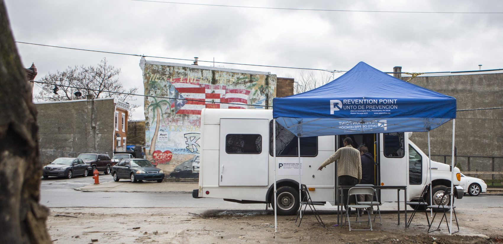 Prevention Point: a social services organization in Philadelphia, sets up a mobile wound care clinic each week to tend to homeless residents in the Kensington area. (Jessica Kourkounis/For Keystone Crossroads)