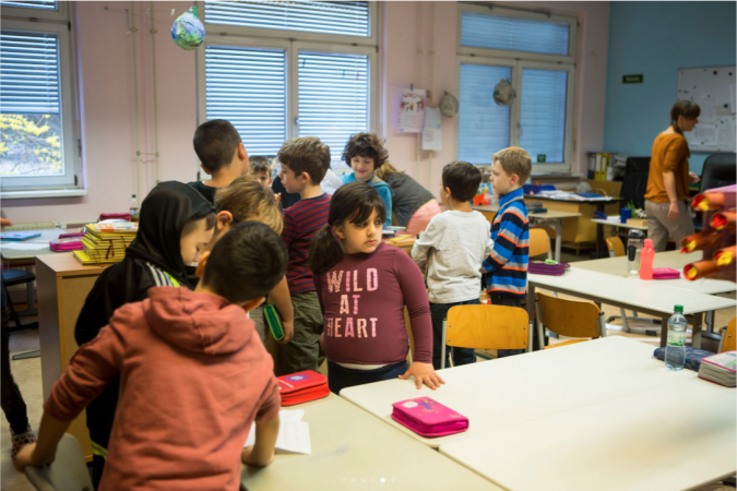 Students at Gustav Falke elementary in Wedding section of Berlin, Germany, a mostly poor, immigrant community. (Jessica Kourkounis/For Keystone Crossroads)