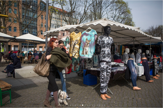Inexpensive clothing is sold at Markt Leopoldplatz, an outside market, in Wedding. (Jessica Kourkounis/For Keystone Crossroads)