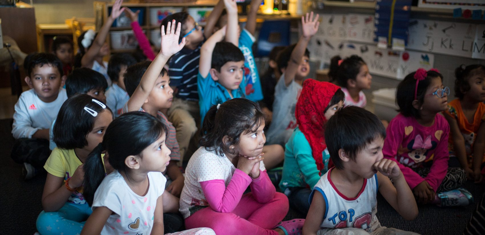 A kindergarten class at Crescent Town Elementary School in Toronto, Ontario, Canada. (Ian Willms/For Keystone Crossroads)