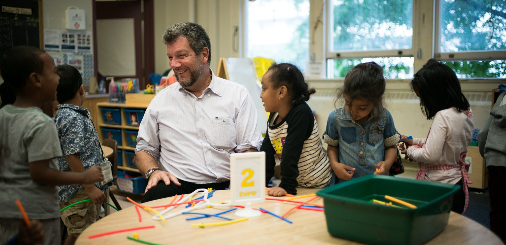 Principal David Crichton, with students at Rose Avenue Public School in Toronto, Ontario, Canada. (Ian Willms/For Keystone Crossroads)