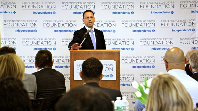 Pennsylvania Attorney General Josh Shapiro speaks at an opioid forum hosted by the Independence Blue Cross Foundation. (Emma Lee/WHYY)