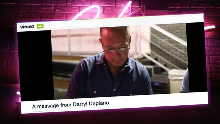 A screen shot of Darryl Depiano's apology video posted on Vimeo.
