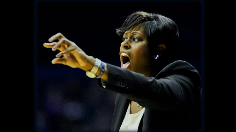 Former Georgetown head coach Natasha Adair was announced Monday as the new University of Delaware women's coach. (AP Photo/Matt Marton)