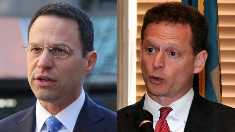 Pennsylvania Attorney General Josh Shapiro, (left); and Delaware Attorney General Matt Denn are two of the 20 attorneys general across the nation to join together in calling for an independent investigation into Russia (Emma Lee/WHYY and Patrick Jackson/Del. Senate Democrats)