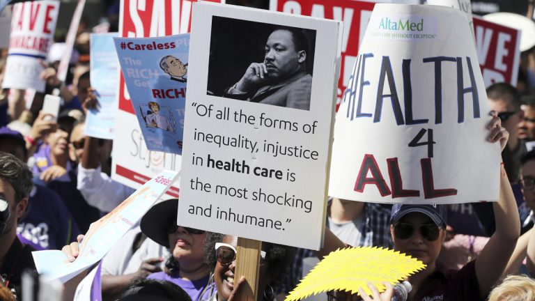 Protesters in Los Angeles in march demonstrate against the American Health Care Act, which the White House hopes will replace Obamacare. (AP Photo/Reed Saxon, file