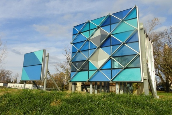 <p><p>These blue panels are a major design feature of the new facility's exterior. (photo courtesy Nemours)</p></p>